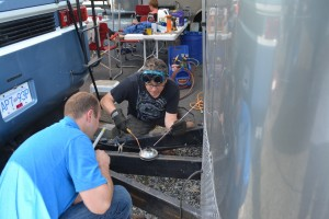 Frank Winter and Oliver Teal Welding at Mission Raceway