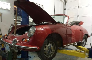 Porsche 356 on hoist at 900 Werks
