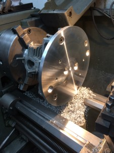 Porsche jig in lathe undergoing final machining