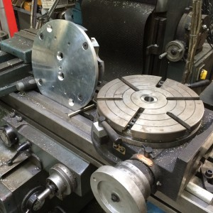 Rotary table being prepared of Porsche Cylinder Head Jig